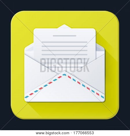 Letters and envelope icon full-color on a bright yellow background. Vector illustration