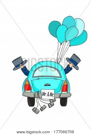 Two grooms in a blue car with tins and balloons