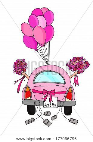 Two brides in a pink car with tins and balloons