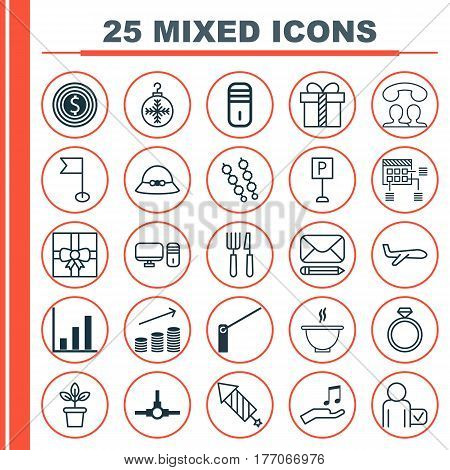Set Of 25 Universal Editable Icons. Can Be Used For Web, Mobile And App Design. Includes Elements Such As Globetrotter, Air Transport, Wedding Jewel And More.