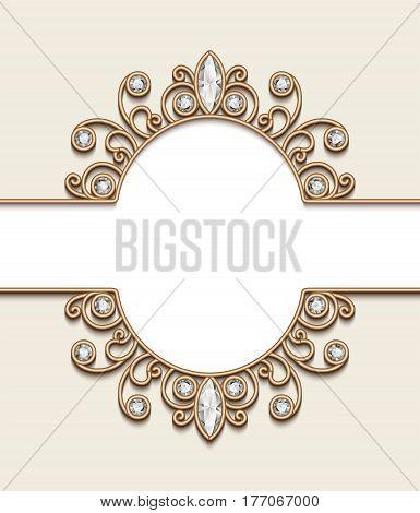 Vintage gold ornamental frame label elegant diamond jewelry vignette