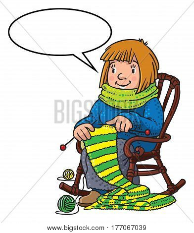 Funny smiling knitter. Woman, sitting in a rocking chair, knitting a scarf, surrounded by yarn. Profession ABC series. Children vector illustration. With balloon for text