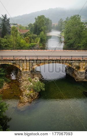 Stone Bridge In Cangas De Onis In Asturias, Spain