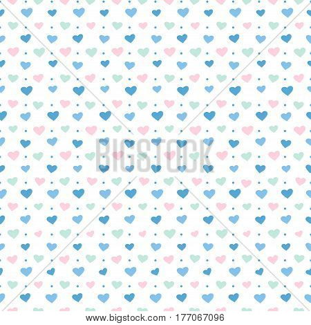 Seamless pattern with blue hearts. Colorful illustrations for textile wallpaper and background. Vector illustration