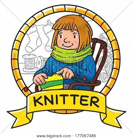 Funny smiling knitter. Woman, sitting in a rocking chair, knitting a scarf, surrounded by yarn. Profession ABC series. Children vector illustration. Emblem in frame with cartoosh