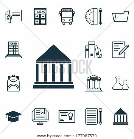 Set Of 16 Education Icons. Includes Education Center, Transport Vehicle, Paper And Other Symbols. Beautiful Design Elements.