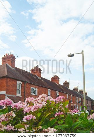 Retro Style Image Of Average British Terraced Street With Flowers In The Foreground And Copy Space