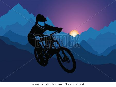 Silhouette of a racer descending on a bicycle on a mountainside against the background of the evening sun - vector