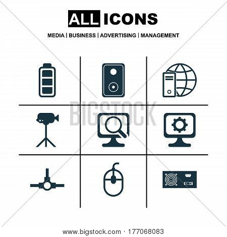 Set Of 9 Computer Hardware Icons. Includes Network Structure, Laptop, PC And Other Symbols. Beautiful Design Elements.