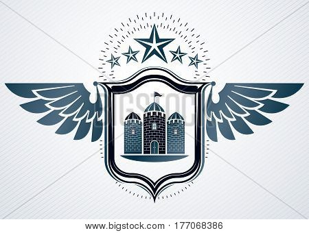 Vector retro insignia design decorated using vintage elements like medieval tower eagle wings and pentagonal star