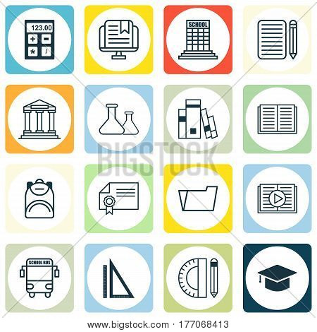 Set Of 16 School Icons. Includes Home Work, E-Study, Document Case And Other Symbols. Beautiful Design Elements.
