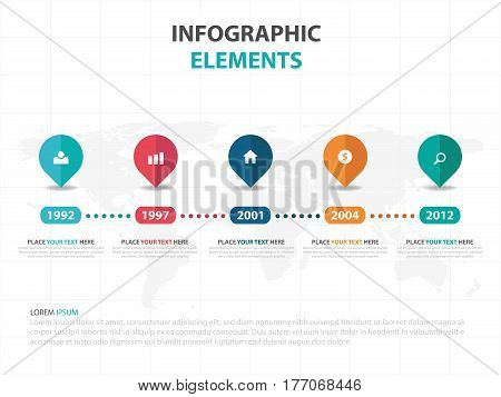 Abstract colorful pin business timeline Infographics elements presentation template flat design vector illustration for web design marketing advertising