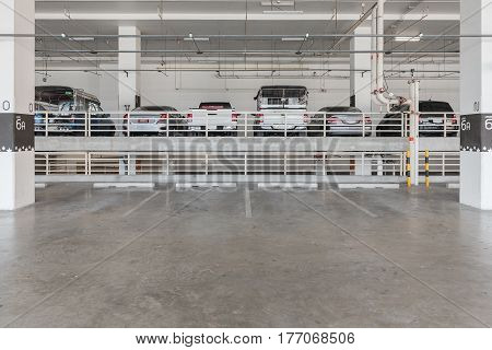 Interior Of Parking Garage With Car