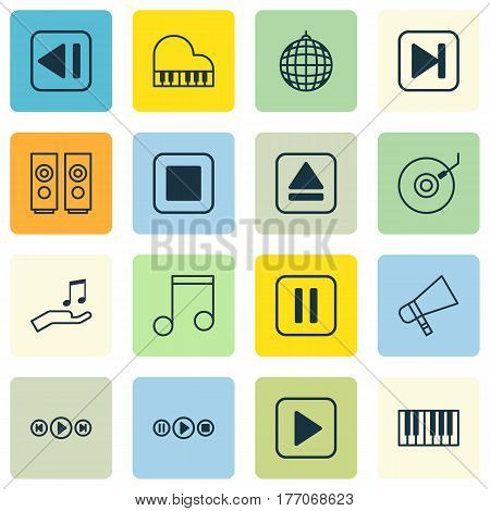 Set Of 16 Multimedia Icons. Includes Note Donate, Start Song, Sound Box And Other Symbols. Beautiful Design Elements.