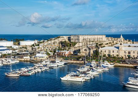 KINGS WHARF BERMUDA MAY 27 - A scenic view of The Royal Naval Dockyard and the historic Casemates Prison on May 27 2016 in Kings Wharf Bermuda.