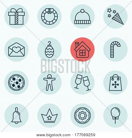 Set Of 16 Celebration Icons. Includes Firecracker, Corona, Gift And Other Symbols. Beautiful Design Elements.