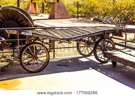 Vintage Wooden Luggage Wagon At Old Railroad Station