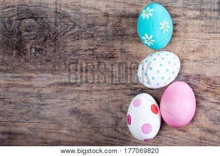 Decoration Easter Eggs with copy space. Happy Easter!