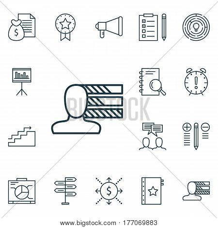 Set Of 16 Project Management Icons. Includes Opportunity, Analysis, Personal Skills And Other Symbols. Beautiful Design Elements.