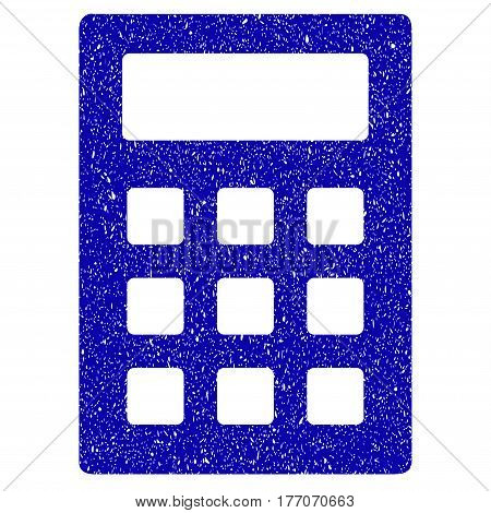 Grunge Calculator rubber seal stamp watermark. Icon symbol with grunge design and dust texture. Unclean vector blue sticker.