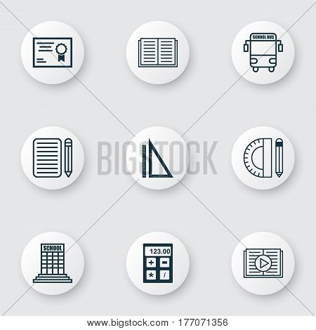 Set Of 9 Education Icons. Includes Taped Book, Transport Vehicle, Home Work And Other Symbols. Beautiful Design Elements.