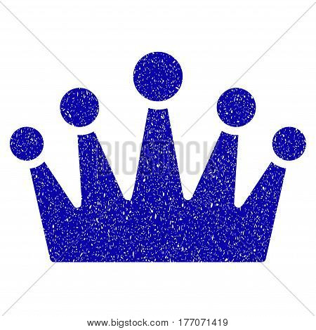 Grunge Crown rubber seal stamp watermark. Icon symbol with grunge design and scratched texture. Unclean vector blue sign.
