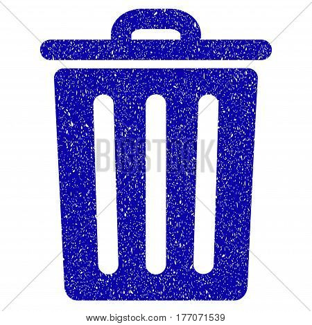 Grunge Dustbin rubber seal stamp watermark. Icon symbol with grunge design and dust texture. Unclean vector blue sign.