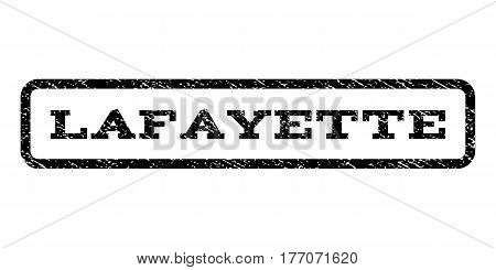 Lafayette watermark stamp. Text caption inside rounded rectangle with grunge design style. Rubber seal stamp with dirty texture. Vector black ink imprint on a white background.