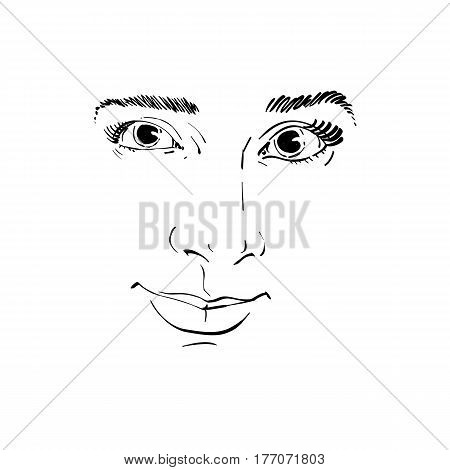 Vector monochrome art drawing portrait of gorgeous dreamy girl isolated on white. Facial expressions people positive emotions. Caucasian melancholic woman face mask.