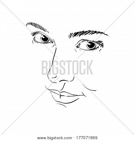 Monochrome hand-drawn mask with face features and emotional expressions. Beautiful sexy lady portrait of flirting woman.