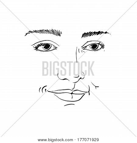 Hand-drawn portrait of white-skin flirting woman face emotions theme illustration. Beautiful sexy lady posing on white background girl with delicate face features.