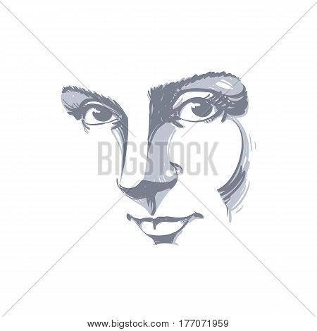Black and white illustration of lady face delicate visage features. Eyes and lips of delicate romantic woman expressing positive emotions.