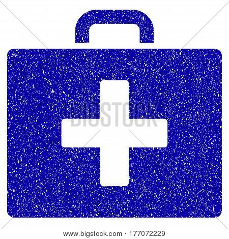Grunge First Aid Bag rubber seal stamp watermark. Icon symbol with grunge design and dust texture. Unclean vector blue sticker.