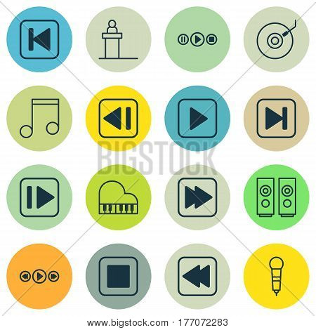 Set Of 16 Multimedia Icons. Includes Sound Box, Rostrum, Start Song And Other Symbols. Beautiful Design Elements.