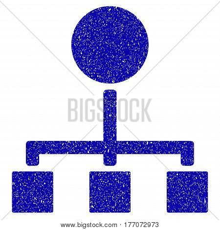 Grunge Hierarchy rubber seal stamp watermark. Icon symbol with grunge design and scratched texture. Unclean vector blue emblem.