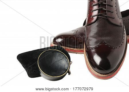 Isolated Leather Shoes On Table With Polishing Equipment. Fashion Handmade. Wax