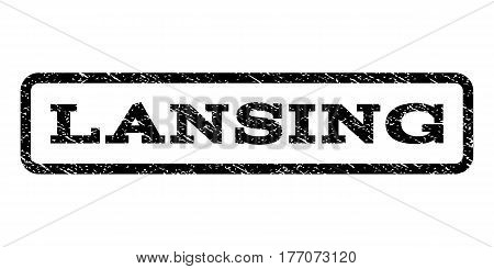 Lansing watermark stamp. Text caption inside rounded rectangle frame with grunge design style. Rubber seal stamp with unclean texture. Vector black ink imprint on a white background.