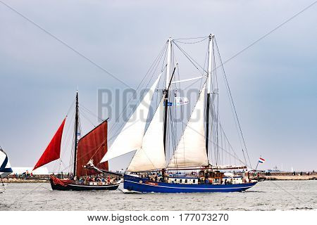 Rostock, Germany - August 2016: Sailing ship Oban on the baltic sea. Hanse-Sail Warnemuende at port Rostock, Mecklenburg-Vorpommern, Germany. Tall Ship.Yachting and Sailing travel. Cruises and holidays