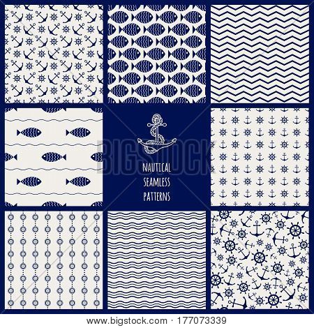 Set of 8 seamless nautical patterns with anchors, ship wheels, fish, chevron and waves. Design elements for printables, wallpaper, baby shower invitation, birthday card, scrapbooking, fabric print.