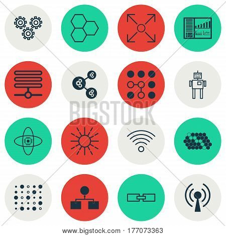 Set Of 16 Machine Learning Icons. Includes Wireless Communications, Related Information, Controlling Board And Other Symbols. Beautiful Design Elements.