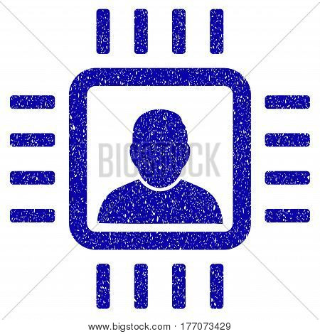 Grunge Neuro Processor rubber seal stamp watermark. Icon symbol with grunge design and unclean texture. Unclean vector blue sticker.