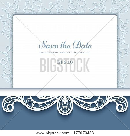 Ornamental frame with cutout paper lace border laser cut decoration save the date card or wedding invitation template
