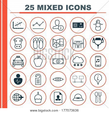 Set Of 25 Universal Editable Icons. Can Be Used For Web, Mobile And App Design. Includes Elements Such As Taste Apple, Woman Cap, Slipper And More.