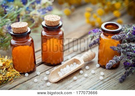 Bottles Of Homeopathic Globules And Healing Herbs. Homeopathy Concept.