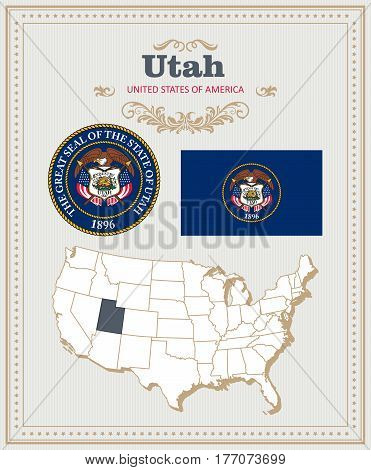 High detailed vector set with flag, coat of arms, map of Utah. American poster. Greeting card from United States of America. Colorful design