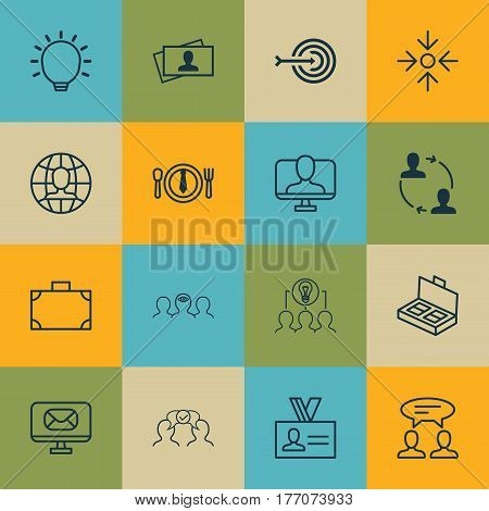 Set Of 16 Business Management Icons. Includes Collaborative Solution, Arrow, Online Identity And Other Symbols. Beautiful Design Elements.