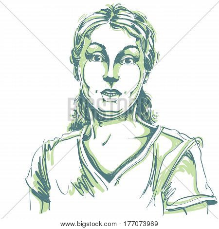 Portrait of skeptic or cynic woman dizzy girl. Black and white vector drawing. Emotional expressions idea image.