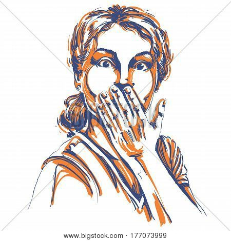 Monochrome vector hand-drawn image shocked young woman. Artistic illustration of amazed girl holding her hand close to mouth.