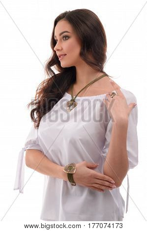 Lovely Caucasian woman wearing luxury silver accessory and jewelry. Girl Isolated on white background