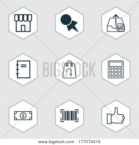 Set Of 9 Commerce Icons. Includes Shop, Calculator, Buck And Other Symbols. Beautiful Design Elements.